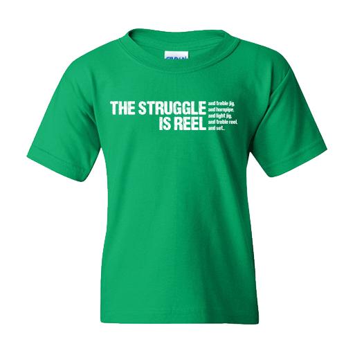 Struggle Is Reel Edgy in White Irish Dance TShirt