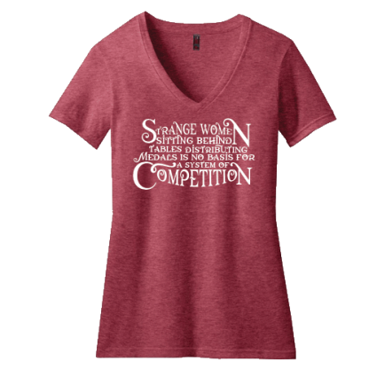 Strange Women Distributing Medals Contour V Neck