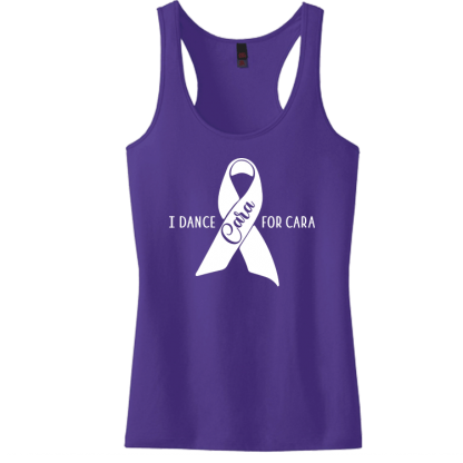 I Dance For Cara Juniors Ladies Racerback Tank
